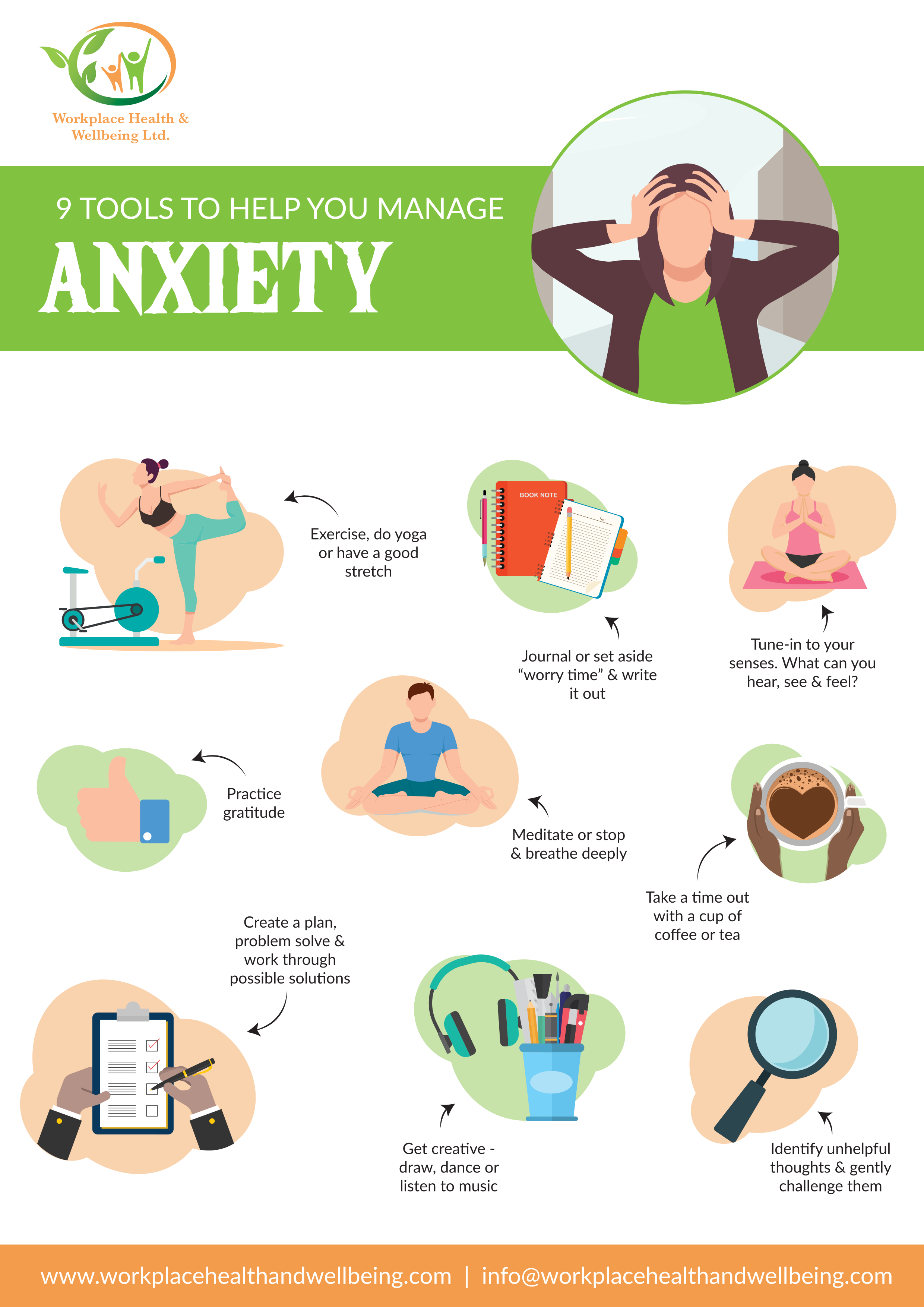 an infographic showing 9 different steps to help relieve anxiety