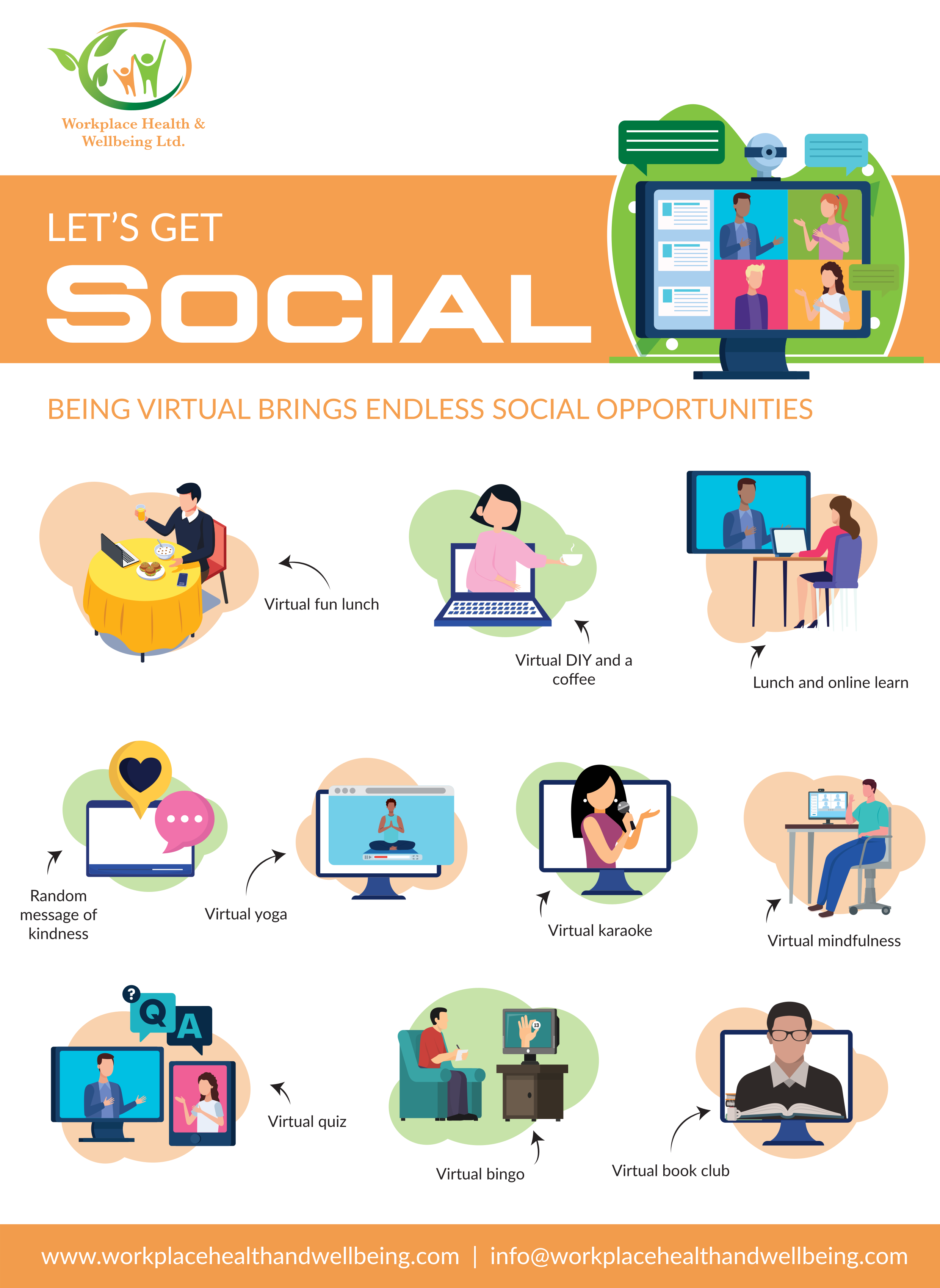 an infographic showing different ideas on how to socialise online